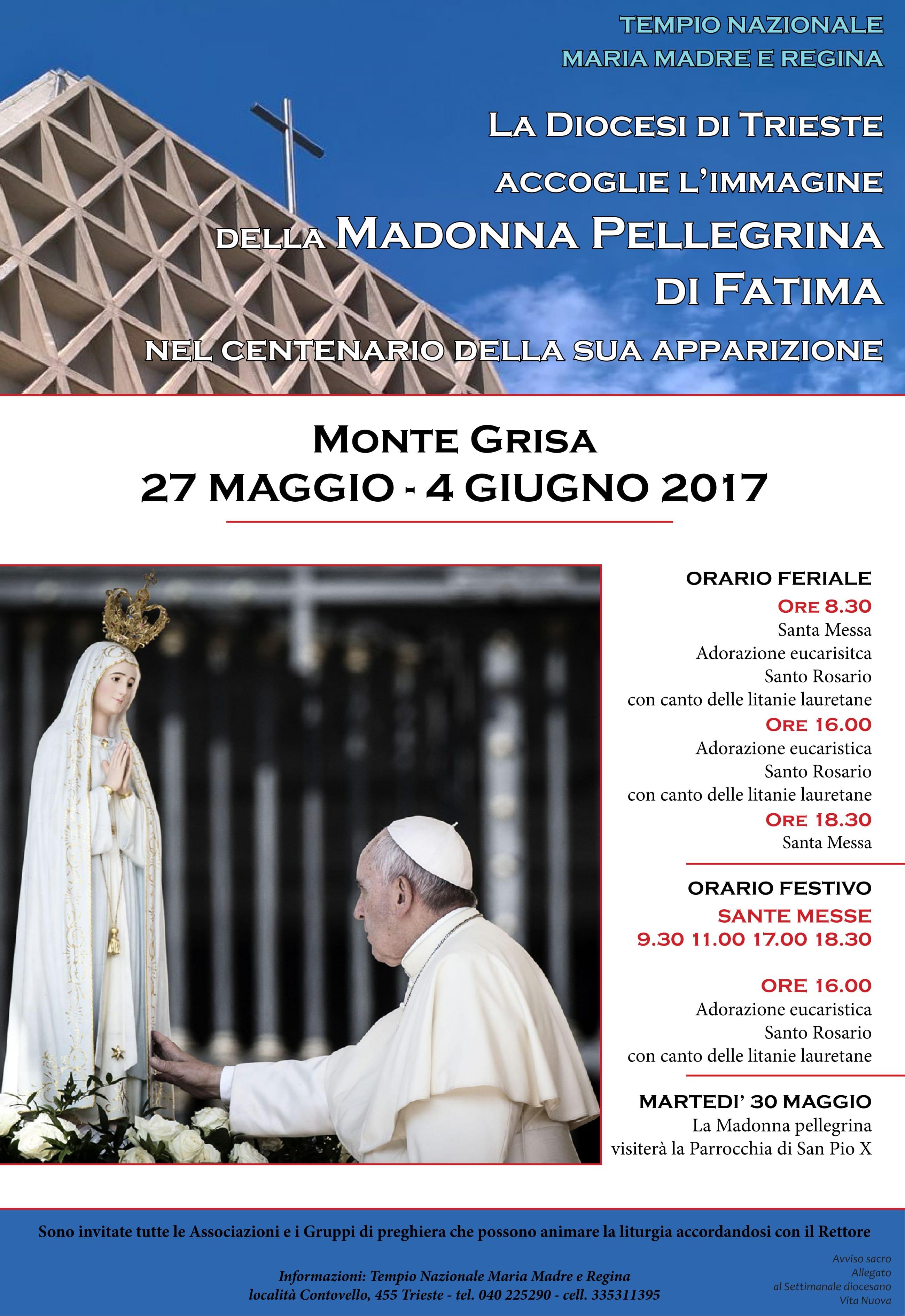 Locandina Madonna Pellegrina di Fatima