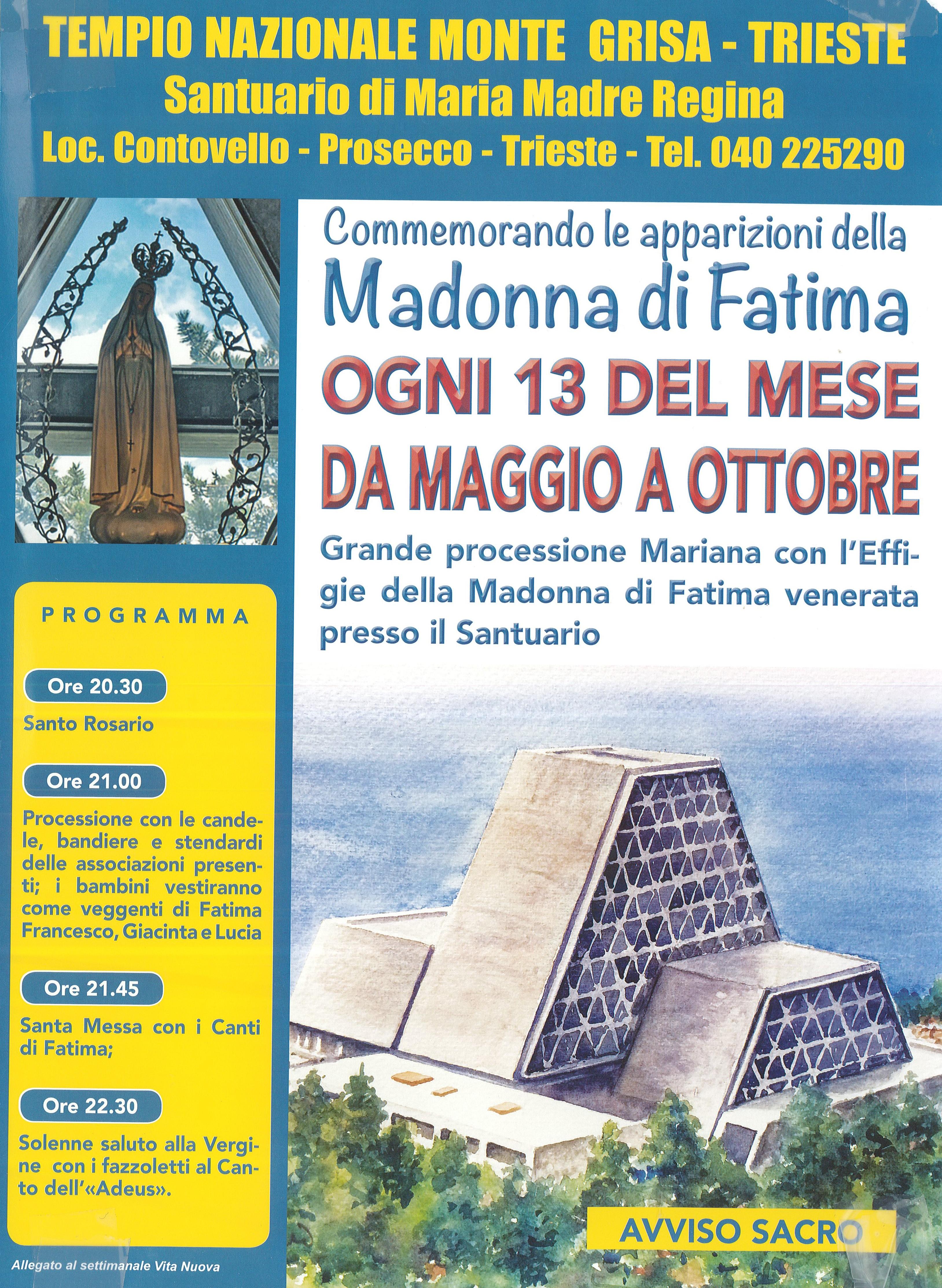 Commemorazione delle apparizioni delle Madonna di Fatima
