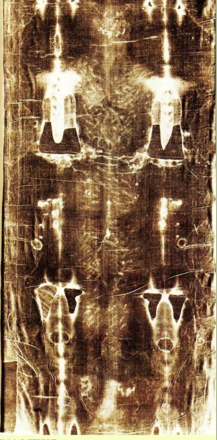 Fotografia dorsale di tutta la Sindone con pellicola ortocromatica - Giuseppe Enrie (1931)