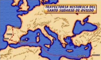 Percorso del Sudario di Oviedo dalla Palestina alla Spagna