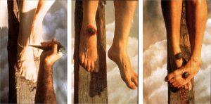 Ricostruzione dell'uso di due chiodi nei piedi durante la crocifissione