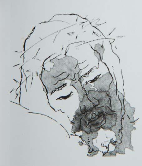 Sovrapposizione di una macchia del sudario su un volto